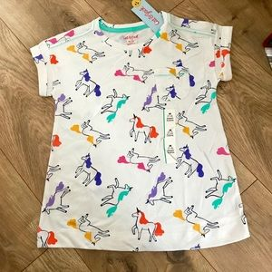 Girls Almond Cream Unicorn Horse Pocket Tee NWT